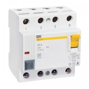 Выключатели дифференциальные (УЗО) 4-х полюсные ВД1-63 цена
