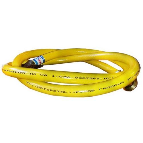 """Армированный резиновый желтый газовый шланг 14мм, 6.3 бар, 1/2"""" ВР/НР, """"Гигант"""" цена"""