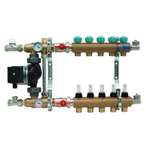 """Коллекторная группа 1""""ВР латунь с насосным модулем и расходомерами KAN-Therm 77A цена"""