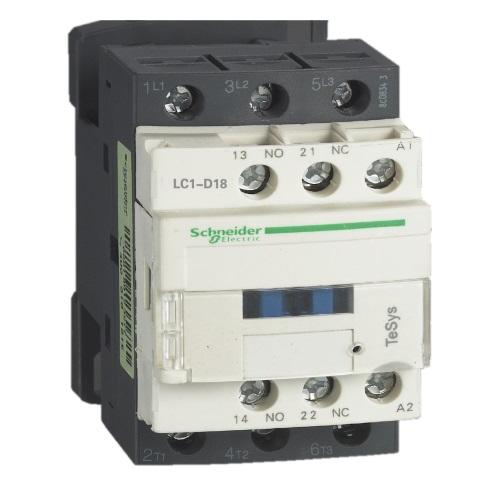 Контакторы AC-3 Schneider Electric TeSys D, LC1D18, 7.5кВт/690В, 18А, 3П, 1НО+1НЗ цена