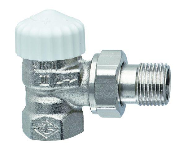 Клапан термостат., 2-х тр. система, с предв. настройкой, никел. бронза, угловой, Heimeier цена