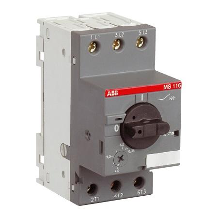 Автоматические выключатели для защиты электродвигателей ABB MS116 с тепловой и электромагнитной защитой цена