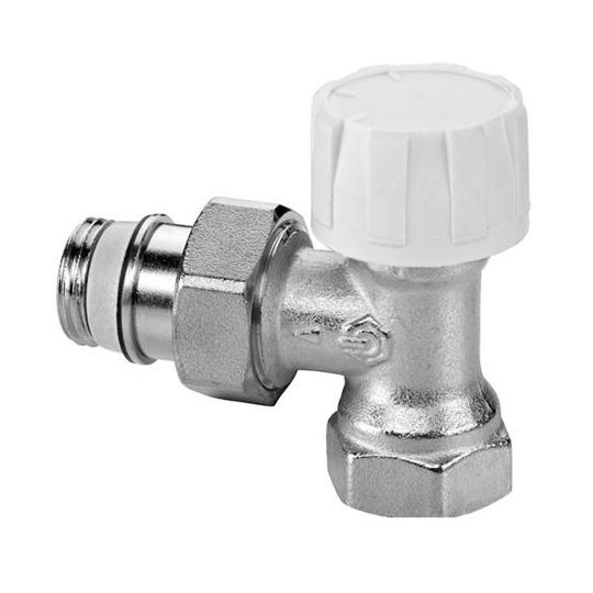 Клапан термостат., 2-х тр. система, с предв. настройкой, угловой, никел. латунь, Meibes цена
