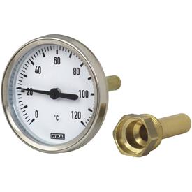 Термометр биметаллический осевой, корпус 100мм - алюминий, Wika тип A50.10 цена