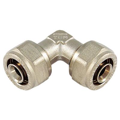 Обжимной уголок для металлопластиковых труб, латунь, Tiemme 1603, никелированный цена