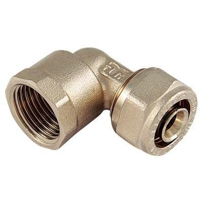 Обжимной уголок для металлопластиковых труб переходной - ВР, латунь, Tiemme 1605, никелированный цена