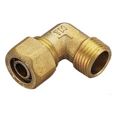 Обжимной уголок для PEX труб переходной - НР, латунь, Tiemme 1404 цена