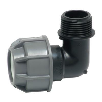 Отвод 90' комбинированный - НР для ПНД труб, пластик цена