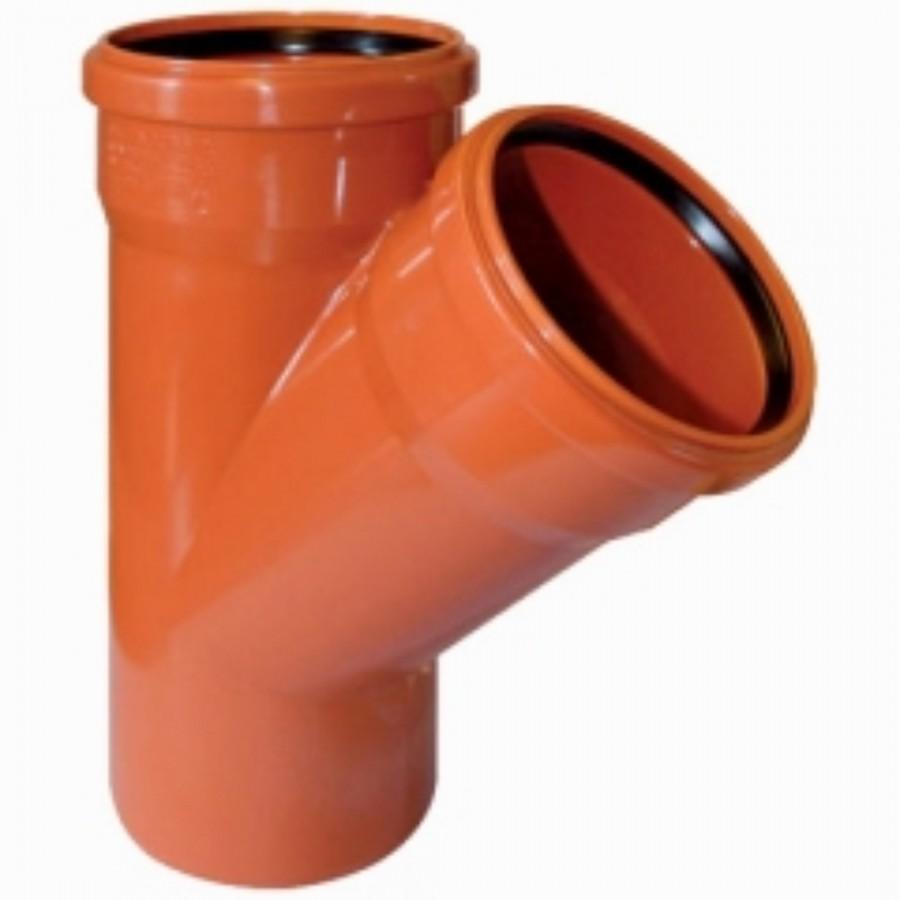 Тройник НПВХ для наружной канализации, 45° цена
