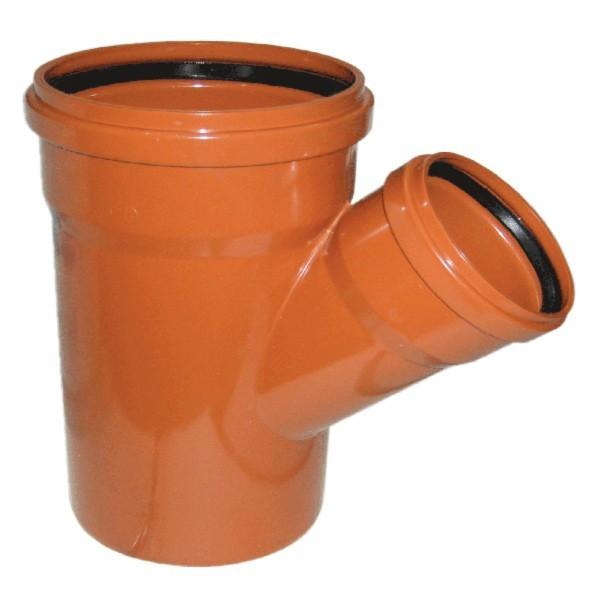 Тройник НПВХ для наружной канализации, 45°, переходной цена