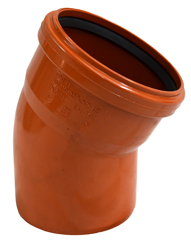 Отвод НПВХ для наружной канализации, 30° цена