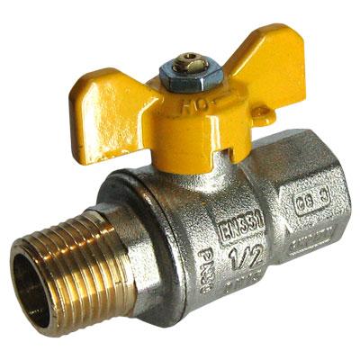 Кран шаровой газовый муфтовый НР-ВР, с ручкой-бабочкой, Tiemme 2371G07 цена