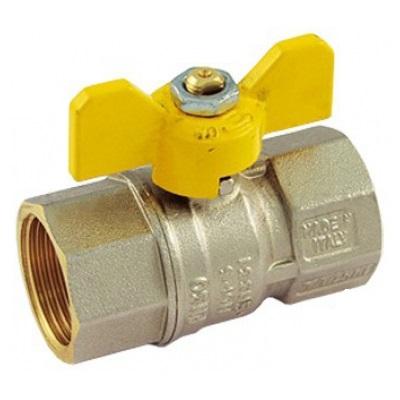 Кран шаровой газовый муфтовый ВР-ВР, с ручкой-бабочкой, Tiemme 2370G07 цена