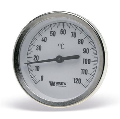 Термометр биметаллический осевой с погружной гильзой, корпус оцинкованная сталь, Watts F+R 801 цена