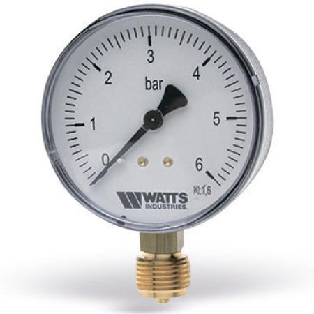 """Манометры радиальные (подключение снизу) Watts F+R200 (MRP), пластик, 1/4""""НР, класс точности 1,6 цена"""