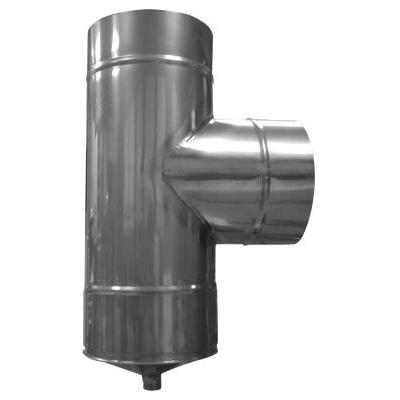 Тройник с конденсатоотводчиком для одностенного (неизолированного) дымохода, нерж. сталь цена