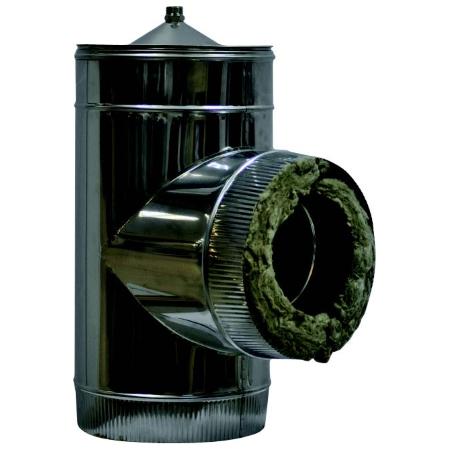 Тройник с конденсатоотводчиком для двустенного (изолированного) дымохода, нерж. сталь цена